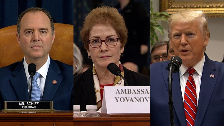 Trump impeachment hearing shot with President Trump Rep Schiff and Amb Yovanovich