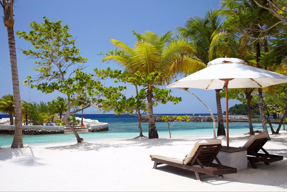 Caribbean white sand beach with lounge chairs umbrellas and palm trees